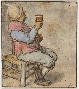 Zittende boer met een glas in de rechterhand