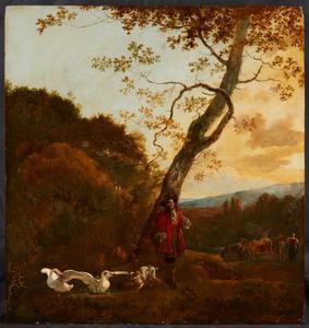 Jager in een landschap, met een hond die twee zwanen aanvalt