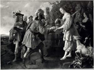 Eliëzer geeft Rebecca een ring en twee armbanden bij de waterput (Genesis 24: 22)