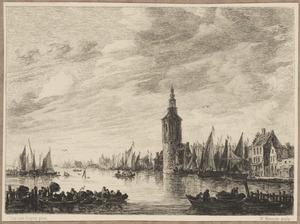 Gezicht op Amsterdam met de Haringpakkerstoren
