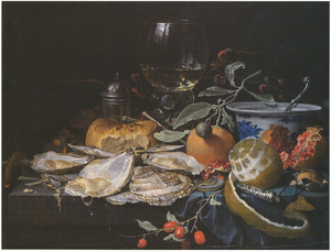 Stilleven met oesters, vruchten en een roemer op en stenen plint