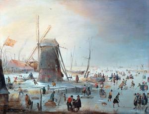 Winterlandschap met kolfspel, schaatser en andere figuren bij een molen