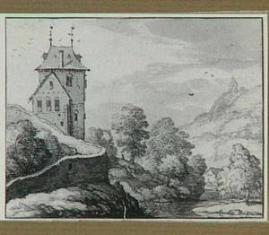 Berglandschap met kasteel (de toren van kasteel Montjardin, bij het dorp Sougné-Remouchamps in de Belgische Ardennen, in een gefantaseerd landschap)
