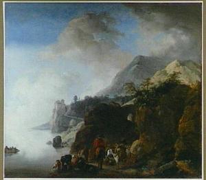 Berglandschap met reizigers en hun dieren bij een aanlegplaats van een veerpont
