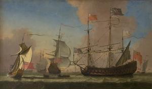 Engelse oorlogschepen in rustig water