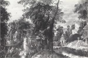Een dorp in een bebost rivierlandschap