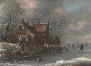 Winterlandschap met schaatsende figuren nabij een dorp