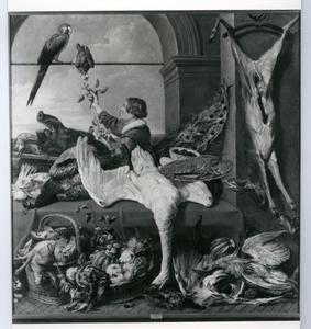 Een jongen in de voorraadkamer die een papegaai voert