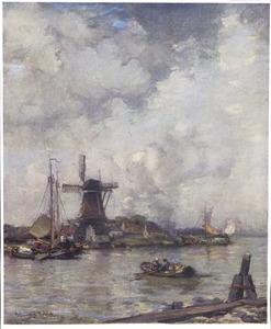 Gezicht op een oude molen in Dordrecht