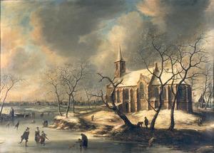 Gezicht op de kerk te Kudelstaart in de winter