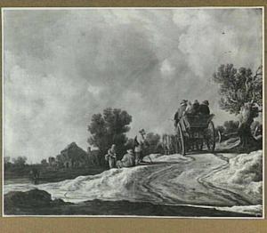 Landschap met reizigers in een boerenwagen op een zandweg
