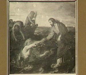 Christus wandelt over het meer en steekt Petrus de hand toe (Matt. 14:31)