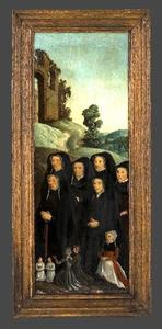 Portret van Maria Dirksdr. Groenewegen met haar dochters en verwanten  (achterzijde: familiewapen)