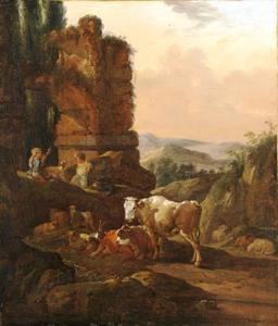Zuidelijk landschap met herderin en vee bij een ruïne
