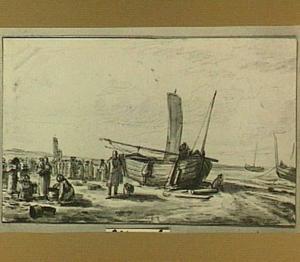 Strandscène met vissers