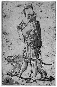 Staande man met hond, naar links