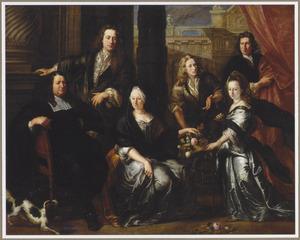Groepsportret van Simon (?-?) en Anne van Haecht (?-?), patriciërs uit Mechelen, met hun drie zoons Rombaut François (?-?), Adrien (?-?), Christophe (?-?) en hun dochter