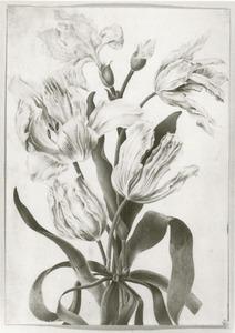 Tulpen bijeengebonden met een blauwe strik