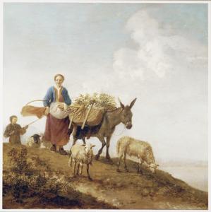 Italianiserend landschap met een herderin en dieren