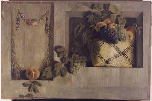 Stilleven met mand met vruchten in een nis