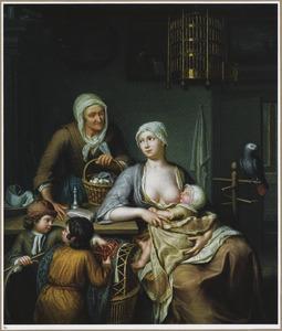 Interieur met een moeder met kind, twee jongetjes en een oude vrouw
