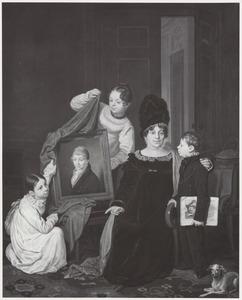 Portret van Jkvr. Carolina Johanna Cornelia Falck (1772-1834) en haar kinderen