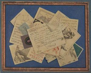 Trompe-l'oeil met brieven en prenten