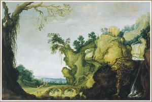 Rotslandschap met de tempel van Tivoli op een berg