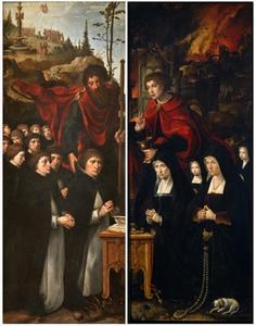 Jaocbus de Meerdere met biddende stichters (binnenzijde linkerluik), Johannes de Evangelist met twee vrouwen en twee meisjes (binnenzijde rechterluik); H. Sebastiaan (buitenzijde linkerluik), H. Adrianus (buitenzijde rechterluik)