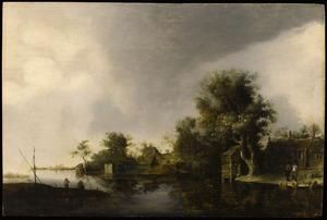 Rivierlandschap met boerderijen op de rechteroever; links op de voorgrond twee hengelaars op een landtong