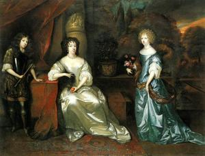 Portret van Albertine Agnes van Oranje-Nassau (1634-1696) met haar kinderen Amalia van Nassau-Dietz (1655-1695) en Hendrik Casimir II van Nassau-Dietz (1657-1696)