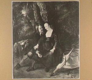 Een jager verleidt een melkmeid in het bos