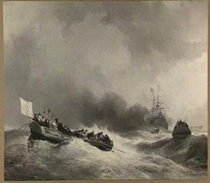 Sloepen op volle zee, een driemaster op de achtergrond