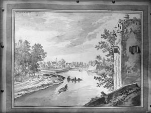 Gezicht vanaf de stadswal van Utrecht over de Stadsbuitengracht; met rechts de Servaastoren en in het verschiet de brug over de Kromme Rijn en bastion Manenburg