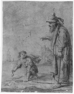 H. Augustinus in gesprek met het kuilgravend kind aan zee