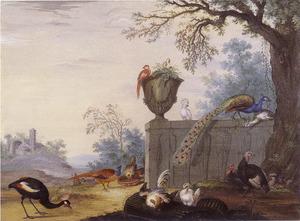 Vogels in een parklandschap, in de achtergrond een ruïne