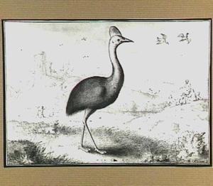 Heuvellandschap met vogels en  figuren