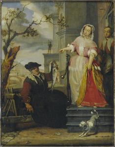 Visverkoopster met burgerdame en haar meid
