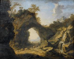 Zuidelijk landschap met oosterse reizigers bij een rotsboog