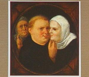 Koppelaarster met een monnik en een non