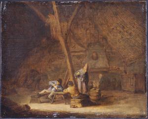 Rokende en kaartende boeren in een interieur