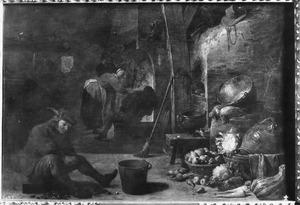 Keukeninterieur met een jonge man die mosselen opent