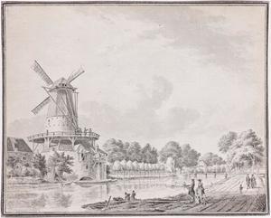 De Oostsingel te Delft met de Nieuwe Langendijkse molen (ook wel molen Zeldenrust of molen van Picard) aan de Oranje Plantage en de Koepoort met de (oude) Koepoortsburg