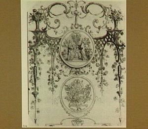 Door ornamenten omgeven zilveren huwelijkspenning, voorkant en achterkant