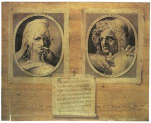 Trompe l'oeil van twee prenten en een gedrukte tekst bevestigd aan een blankhouten achtergrond