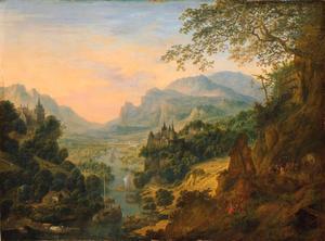 Rivier vallei in de bergen