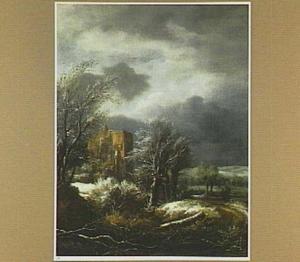 Winterlandschap met reizigers voor een kasteelruïne (Brederode vanuit het westen?)