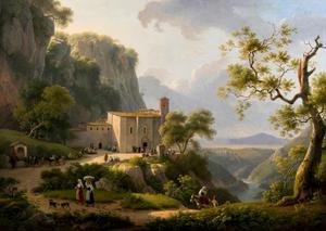 Berglandschap met  pelgrims en reizigers bij een klooster