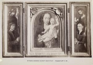 Willem van Overbeke met patroonheilige (linkerluik); Maria met kind (middendeel); Johanna de Keysere met Johannes de Doper (rechterluik)