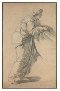 Oude vrouw een doek vasthoudend